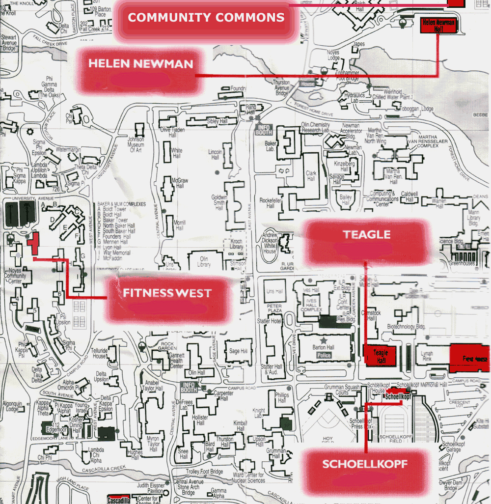 Site Map For Web Page: Cornell Fitness Centers Campus Map